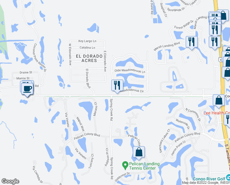 map of restaurants, bars, coffee shops, grocery stores, and more near 23357 Olde Meadowbrook Circle in Bonita Springs
