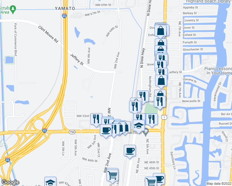 map of restaurants, bars, coffee shops, grocery stores, and more near 5700 Northwest 2nd Avenue in Boca Raton