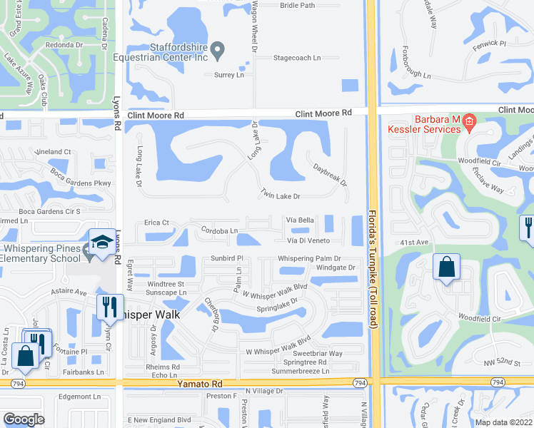 map of restaurants, bars, coffee shops, grocery stores, and more near 8541 Vía Romana in Boca Raton