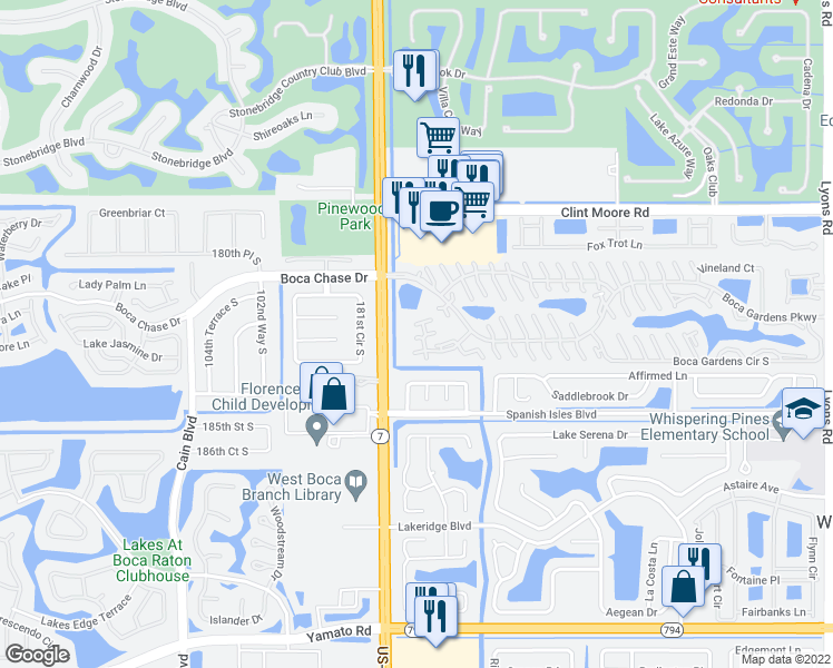 map of restaurants, bars, coffee shops, grocery stores, and more near 9939 Boca Gardens Trail in Boca Raton