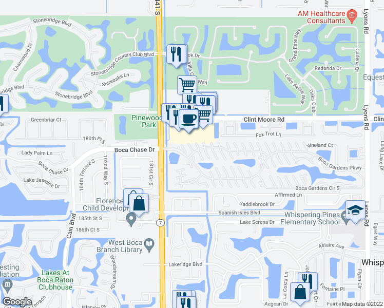 map of restaurants, bars, coffee shops, grocery stores, and more near 9757 Boca Gardens Circle North in Boca Raton