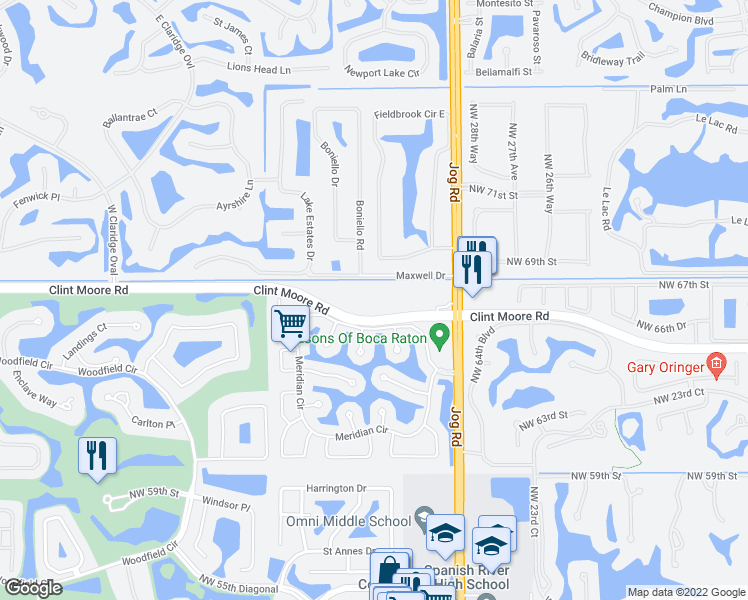 map of restaurants, bars, coffee shops, grocery stores, and more near 3201 Clint Moore Road in Boca Raton