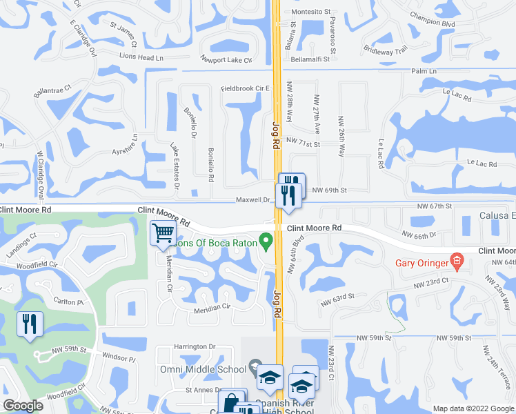 map of restaurants, bars, coffee shops, grocery stores, and more near 3151 Clint Moore Road in Boca Raton