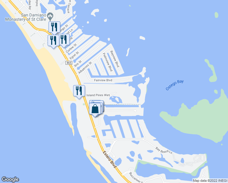 map of restaurants, bars, coffee shops, grocery stores, and more near 22628 Island Pines Way in Fort Myers Beach