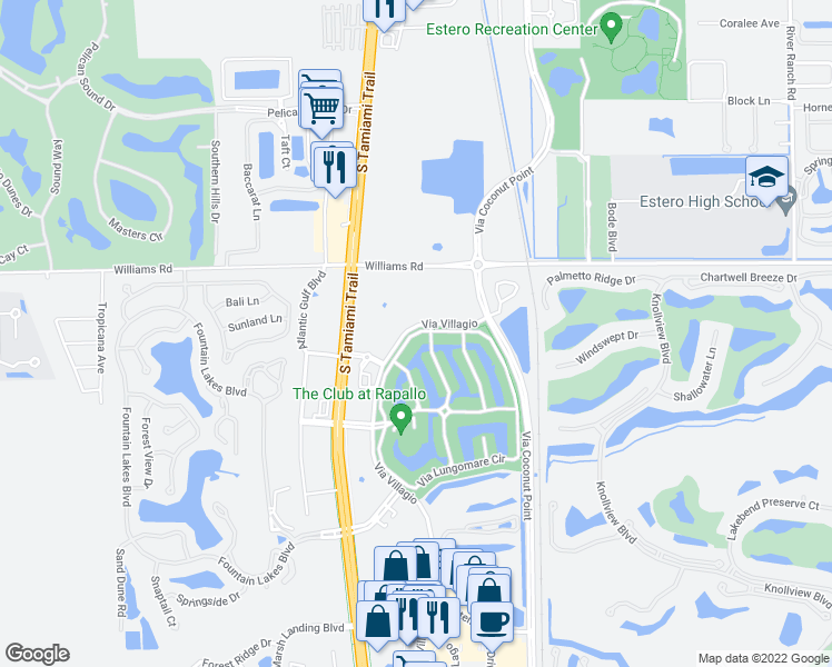 map of restaurants, bars, coffee shops, grocery stores, and more near 8565 Via Garibaldi Circle in Estero
