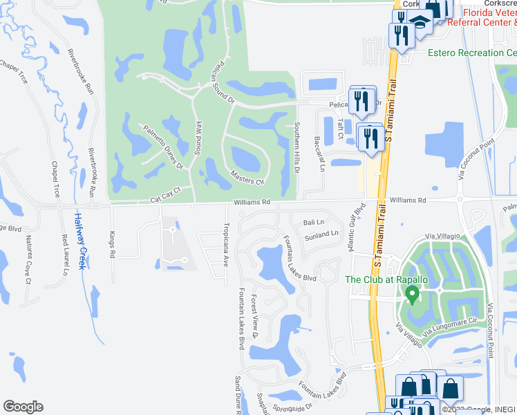map of restaurants, bars, coffee shops, grocery stores, and more near 3900 Preserve Way in Estero