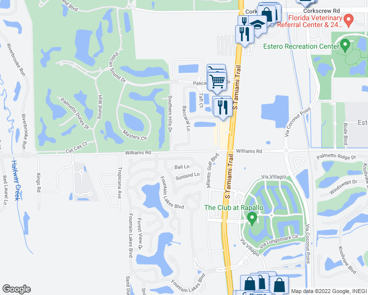 map of restaurants, bars, coffee shops, grocery stores, and more near 103 Baccarat in Estero
