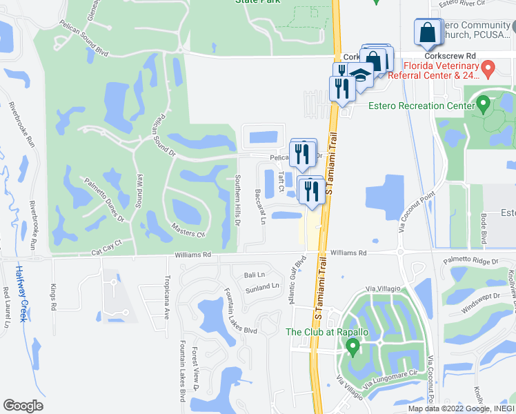map of restaurants, bars, coffee shops, grocery stores, and more near 21560 Baccarat Lane in Estero