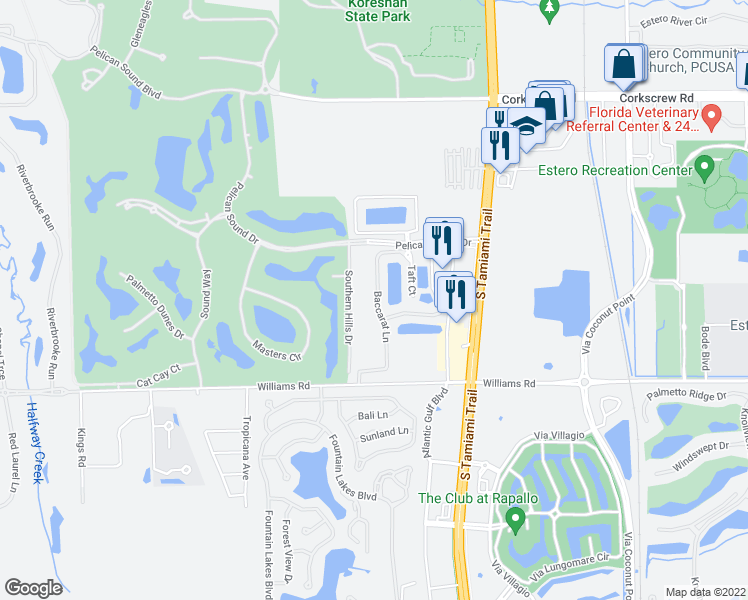 map of restaurants, bars, coffee shops, grocery stores, and more near 282 Baccarat in Estero