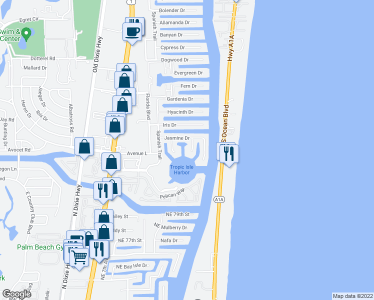 map of restaurants, bars, coffee shops, grocery stores, and more near 3130 Jasmine Ct in Delray Beach