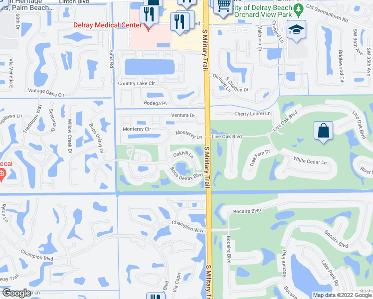 map of restaurants, bars, coffee shops, grocery stores, and more near 16769 Oakhill Trail in Delray Beach