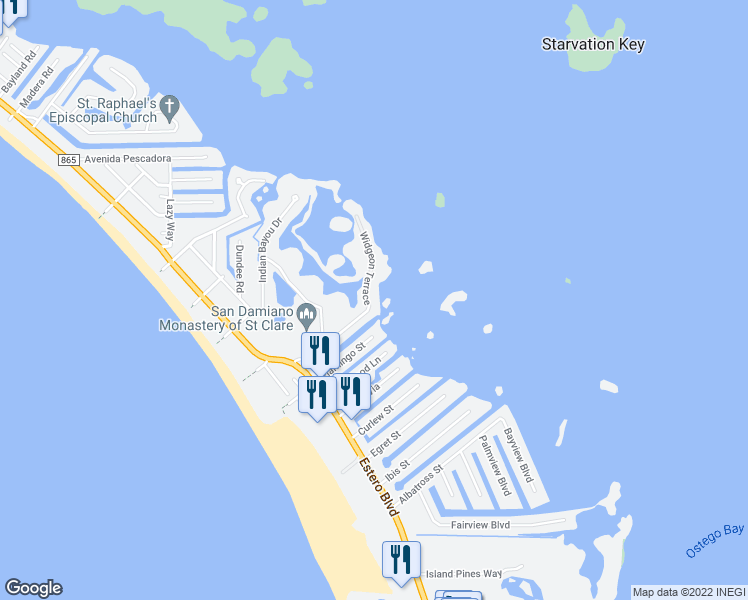map of restaurants, bars, coffee shops, grocery stores, and more near 21521 Widgeon Terrace in Fort Myers Beach