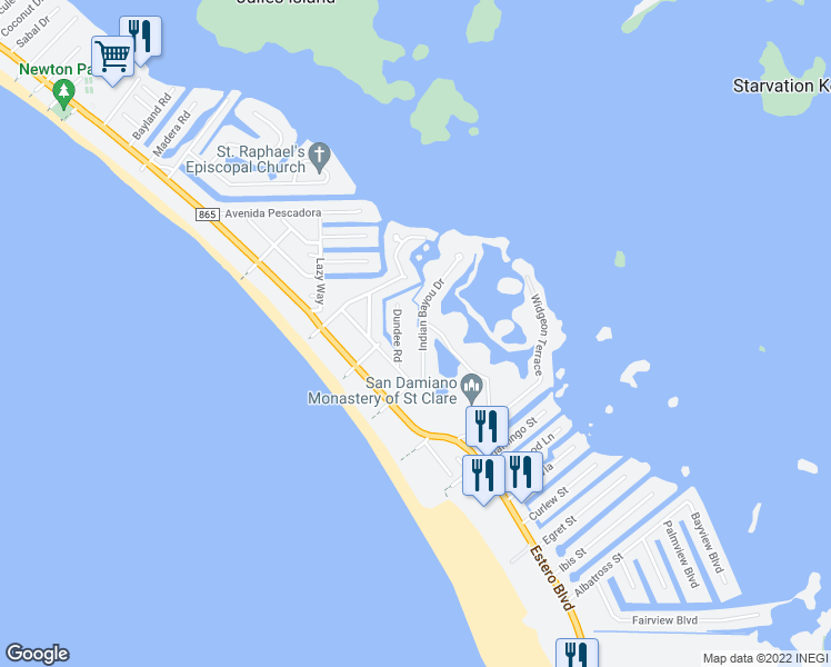 map of restaurants, bars, coffee shops, grocery stores, and more near 21660 Indian Bayou Drive in Fort Myers Beach