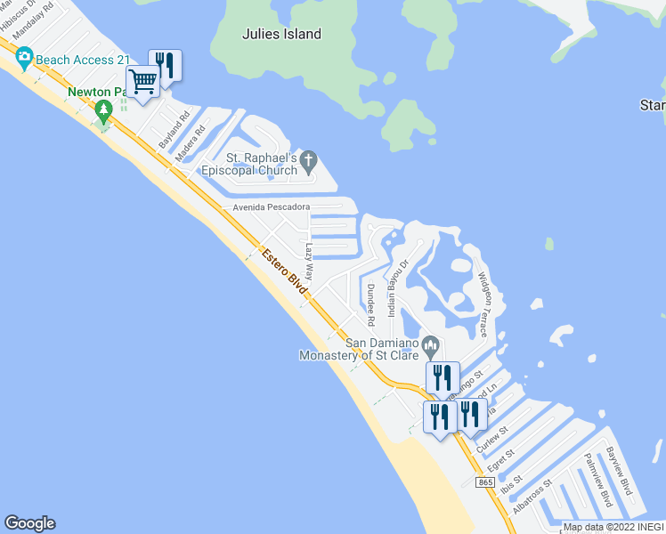 map of restaurants, bars, coffee shops, grocery stores, and more near 205 Sterling Avenue in Fort Myers Beach