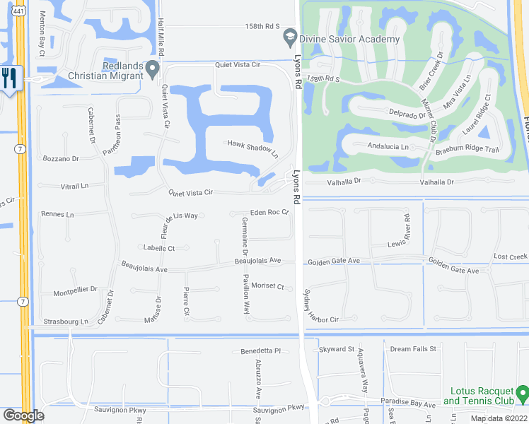 map of restaurants, bars, coffee shops, grocery stores, and more near Eden Roc Court in Delray Beach
