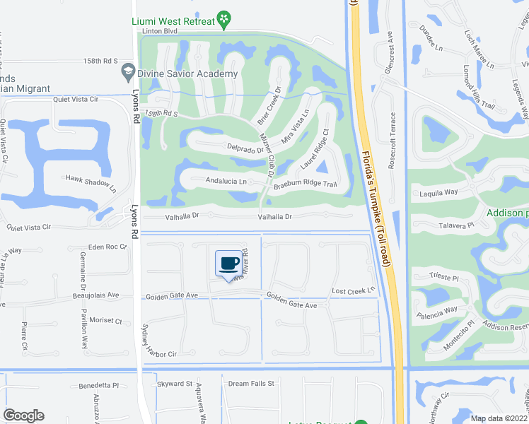 map of restaurants, bars, coffee shops, grocery stores, and more near 8191 Valhalla Drive in Delray Beach