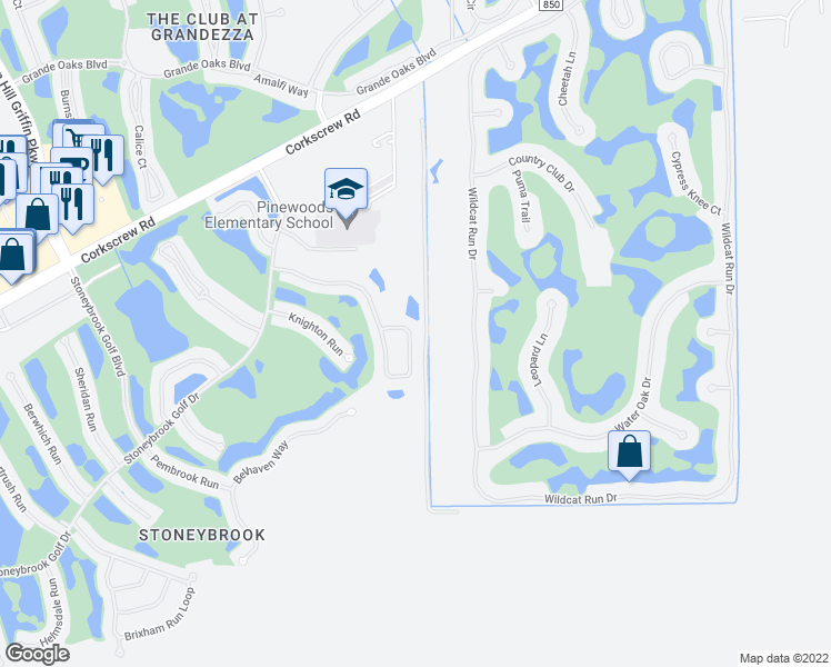 map of restaurants, bars, coffee shops, grocery stores, and more near 21294 Braxfield Loop in Estero