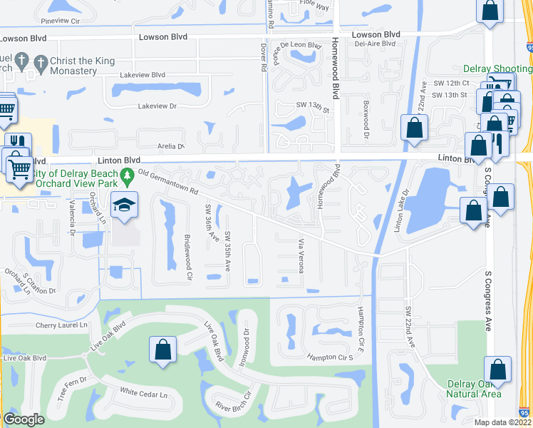 map of restaurants, bars, coffee shops, grocery stores, and more near 1885 Highland Grove Drive in Delray Beach
