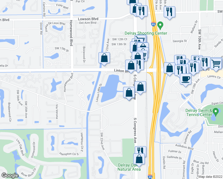 map of restaurants, bars, coffee shops, grocery stores, and more near 1495 Spring Harbor Drive in Delray Beach