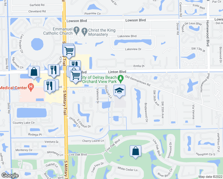map of restaurants, bars, coffee shops, grocery stores, and more near 4385 Old Germantown Road in Delray Beach