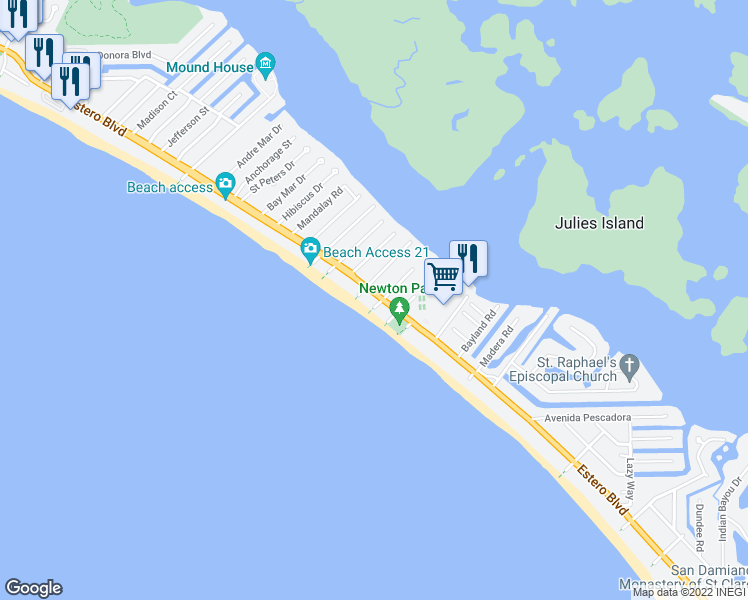 map of restaurants, bars, coffee shops, grocery stores, and more near 4450 Estero Boulevard in Fort Myers Beach