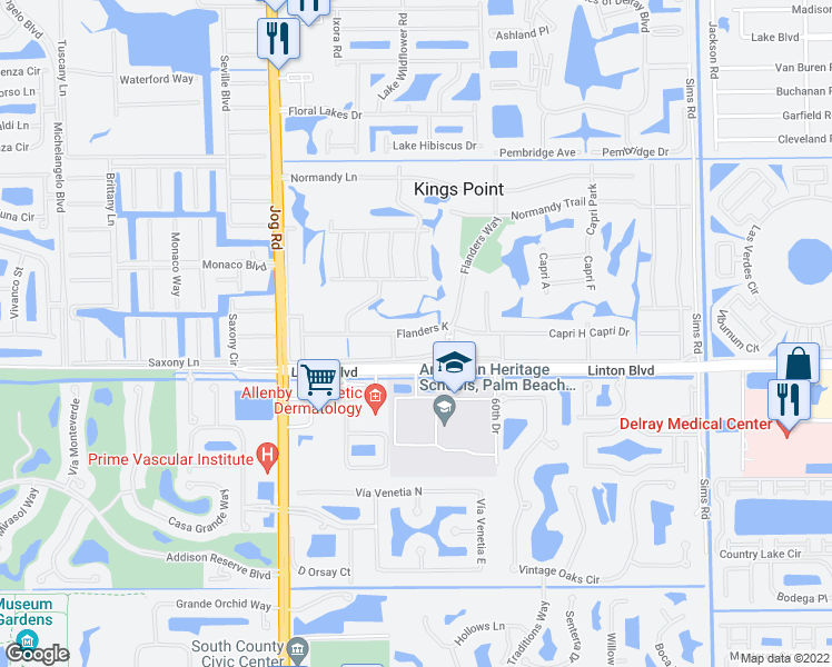 map of restaurants, bars, coffee shops, grocery stores, and more near 835 Flanders South in Delray Beach