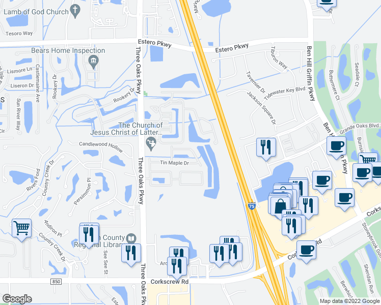 map of restaurants, bars, coffee shops, grocery stores, and more near 10261 Olivewood Way in Estero