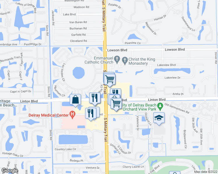 map of restaurants, bars, coffee shops, grocery stores, and more near 4801 Linton Boulevard in Delray Beach
