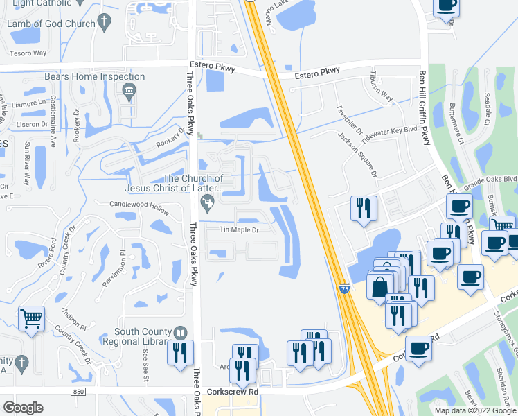 map of restaurants, bars, coffee shops, grocery stores, and more near 10240 Olivewood Way in Estero