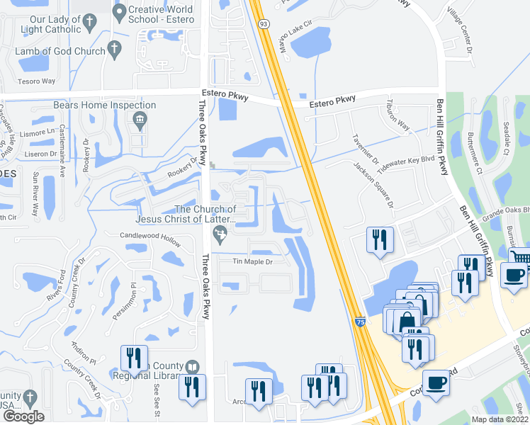 map of restaurants, bars, coffee shops, grocery stores, and more near 10126 Villagio Palms Way in Estero