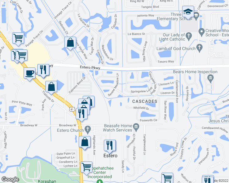 map of restaurants, bars, coffee shops, grocery stores, and more near 20077 Serene Meadow Lane in Estero