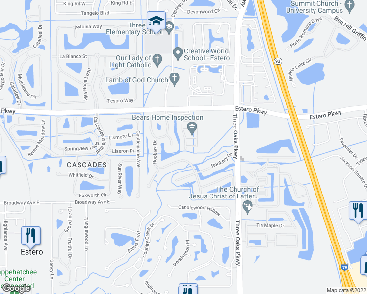map of restaurants, bars, coffee shops, grocery stores, and more near 20072 Heatherstone Way in Estero