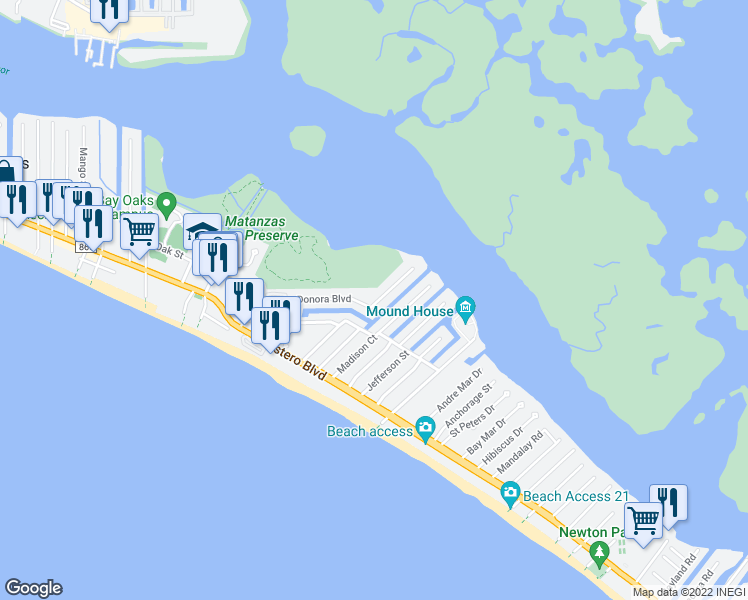 map of restaurants, bars, coffee shops, grocery stores, and more near 355 Donora Boulevard in Fort Myers Beach