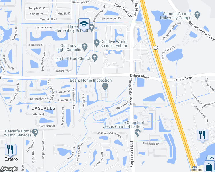 map of restaurants, bars, coffee shops, grocery stores, and more near 9729 Heatherstone River Court in Estero