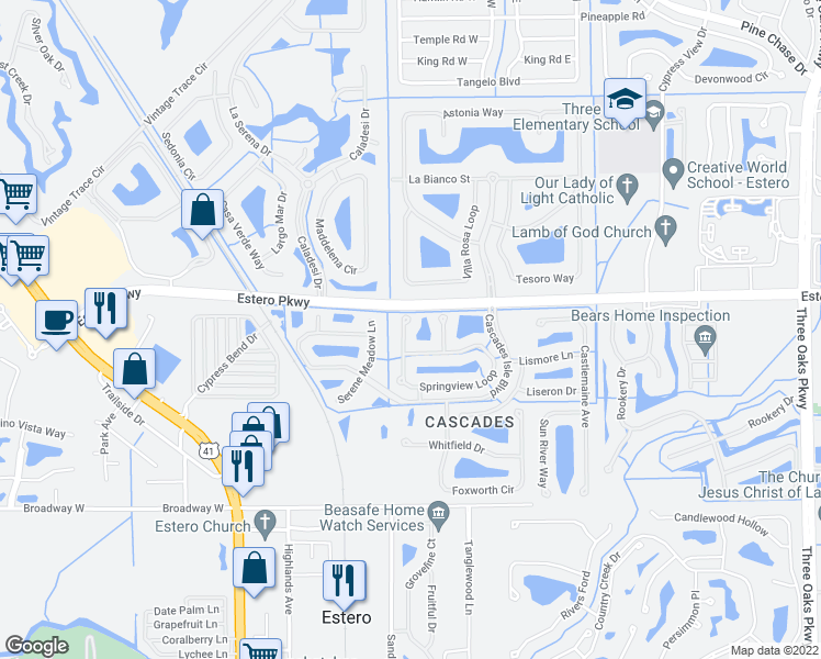 map of restaurants, bars, coffee shops, grocery stores, and more near 9011 Springview Loop in Estero