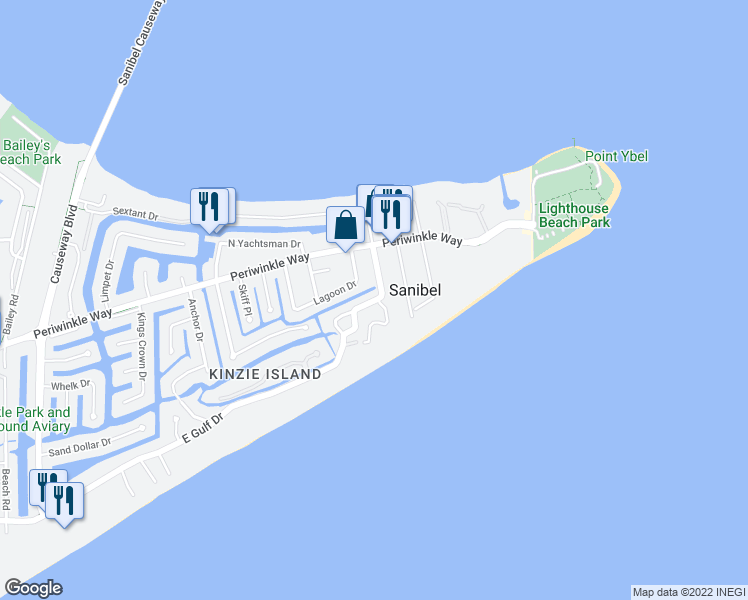 map of restaurants, bars, coffee shops, grocery stores, and more near 412 East Gulf Drive in Sanibel