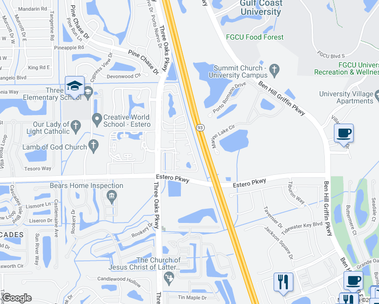 map of restaurants, bars, coffee shops, grocery stores, and more near 10121 Shephard Street in Fort Myers