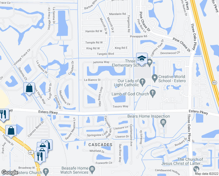 map of restaurants, bars, coffee shops, grocery stores, and more near 19614 Tesoro Way in Fort Myers