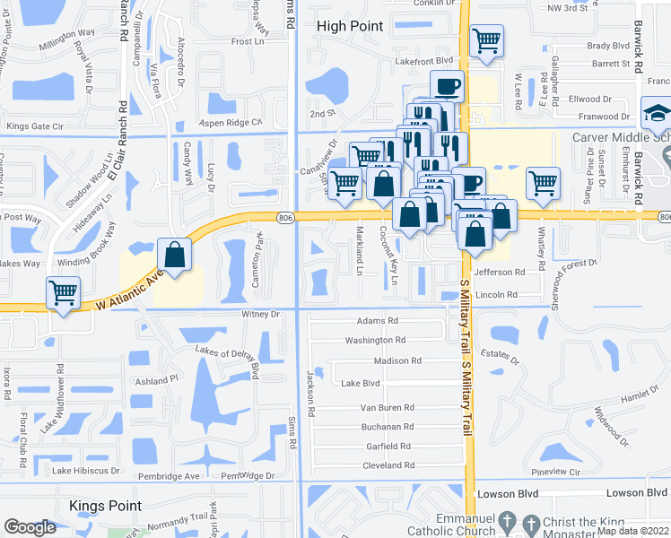map of restaurants, bars, coffee shops, grocery stores, and more near 14768 Enclave Lakes Drive in Delray Beach
