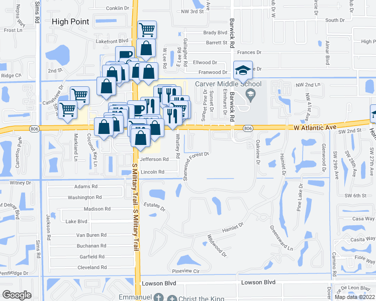 map of restaurants, bars, coffee shops, grocery stores, and more near 4734 South Prive Circle in Delray Beach