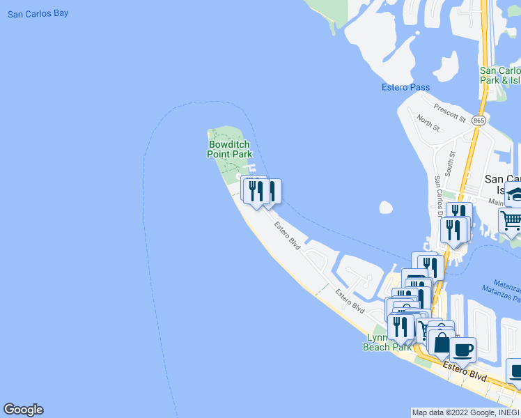 map of restaurants, bars, coffee shops, grocery stores, and more near 200 Estero Boulevard in Fort Myers Beach