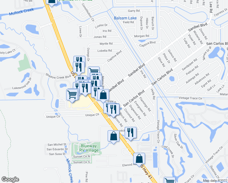 map of restaurants, bars, coffee shops, grocery stores, and more near 18627 Coconut Road in Fort Myers