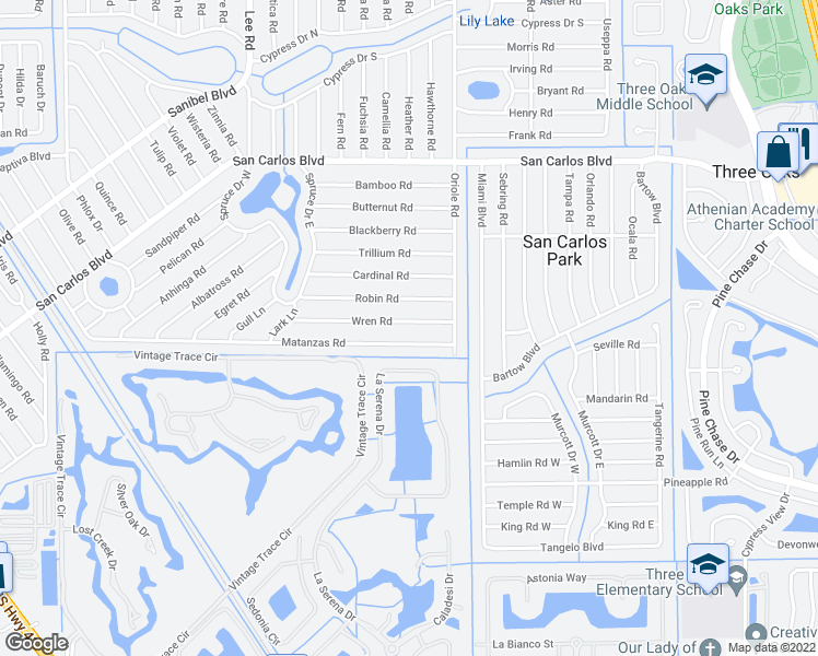 map of restaurants, bars, coffee shops, grocery stores, and more near 8418 Wren Road in Fort Myers