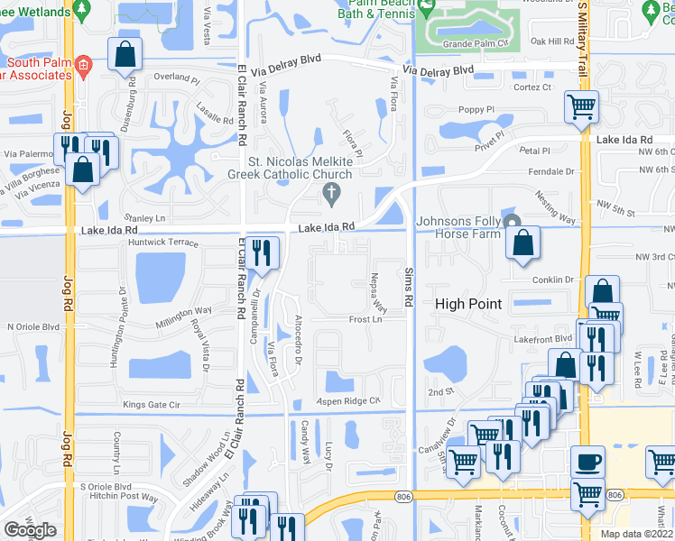 map of restaurants, bars, coffee shops, grocery stores, and more near 14050 Pacific Point Place in Delray Beach