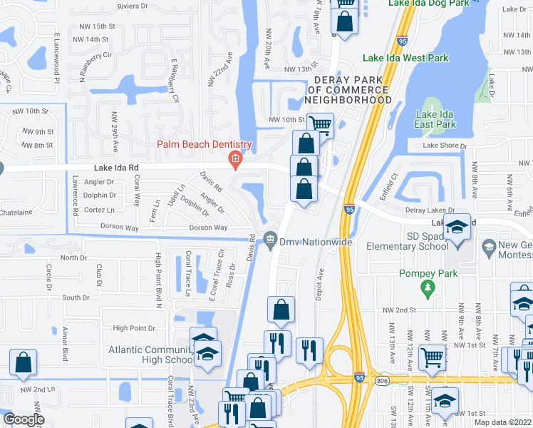 map of restaurants, bars, coffee shops, grocery stores, and more near 500 North Congress Avenue in Delray Beach