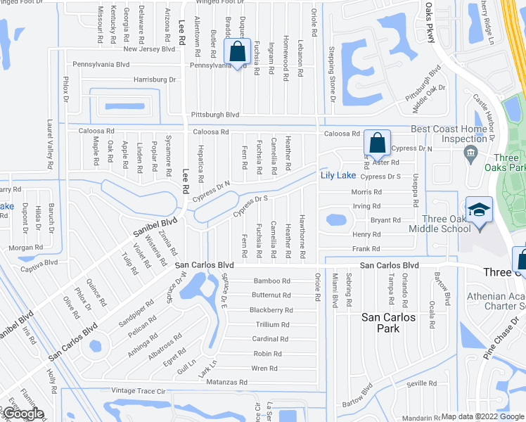 map of restaurants, bars, coffee shops, grocery stores, and more near 18347 Fuchsia Road in Fort Myers
