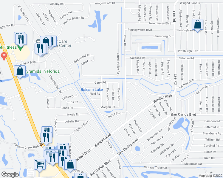 map of restaurants, bars, coffee shops, grocery stores, and more near 18136 Hilda Drive in Fort Myers