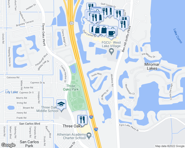 map of restaurants, bars, coffee shops, grocery stores, and more near 9947 Isola Way in Fort Myers