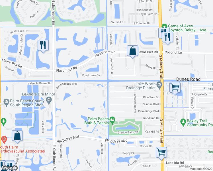 map of restaurants, bars, coffee shops, grocery stores, and more near 13022 Lady Palm Court in Delray Beach