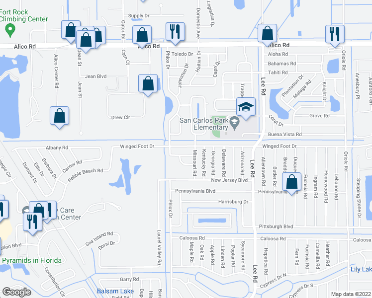map of restaurants, bars, coffee shops, grocery stores, and more near 8064 Winged Foot Drive in Fort Myers